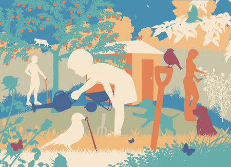 animal silhouette: Colorful editable vector cutout illustration of a family gardening with puppies and wildlife