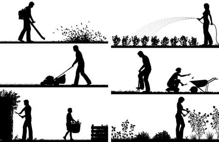 mowing the lawn: Set of eps8 editable vector silhouette foregrounds of people gardening with all figures as separate objects Illustration