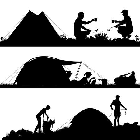 man hiking: Set of eps8 editable vector silhouettes of people camping with figures and tents as separate objects