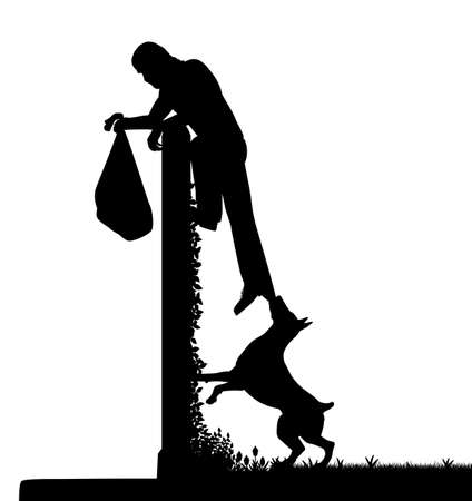 apprehend: EPS8 editable vector silhouette of a guard dog stopping a thief from escaping over a high garden wall with figures as separate objects