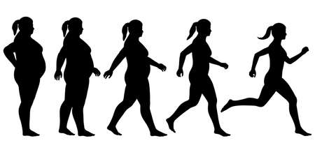 overweight: EPS8 editable vector silhouette sequence of a woman exercising to lose weight