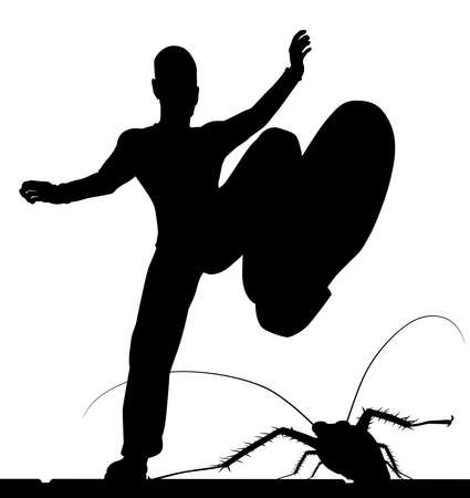 bugs: EPS8 editable vector silhouette of a man stamping on a cockroach with the figures as separate objects Illustration