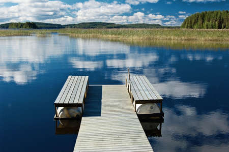 Jetty on a Finnish lake in summer