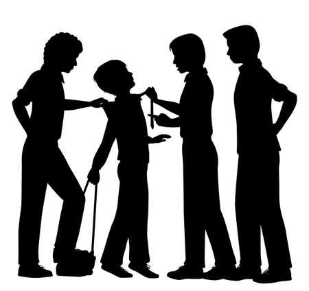 maltrato infantil: Siluetas vectoriales editables de chicos mayores intimidaci�n a un muchacho joven, con todas las figuras como objetos separados