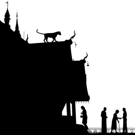 man eater: Editable vector silhouette of a leopard on a temple roof with figures as separate objects Illustration