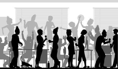 office party: Siluetas vectoriales editables de hombres de negocios en una fiesta de oficina con todos los elementos como objetos separados