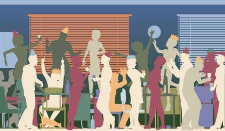 office party: Coloridas siluetas vectoriales editables de hombres de negocios en una fiesta de oficina con todos los elementos como objetos separados