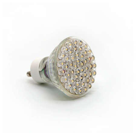lit lamp: Modern LED Light Bulb on White Background