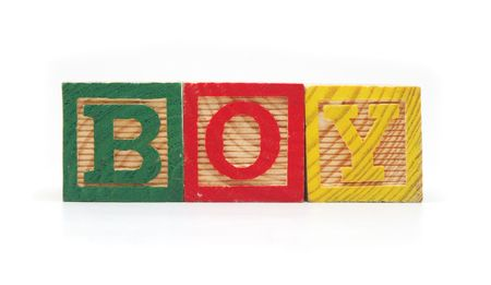 Isolated Wood Alphabet Blocks Spell the Word BOY Stock Photo
