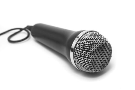Close Up of Microphone on White Background