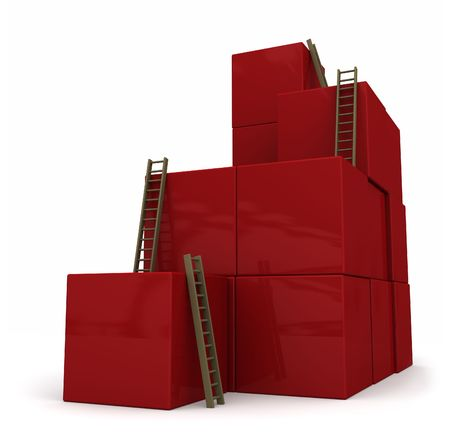 corporate ladder: Random red blocks stacked with ladders to the top. Isolated on white