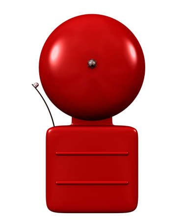 An older style alarm bell bright red isolated on white photo