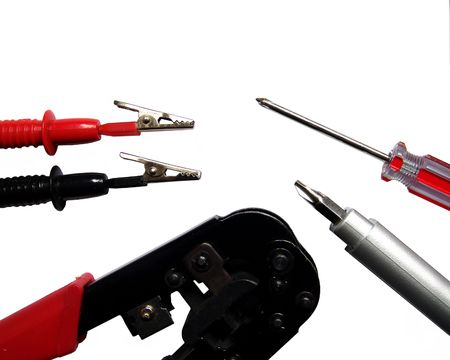 A set of electronics and network tools isolated on white Stock Photo - 384171