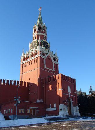 etalon: A view of the Spasskaya (Savior) tower, Moscow, Russia