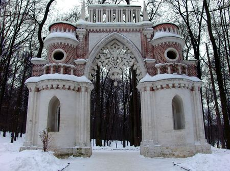 the tsaritsyno: The park gate near the Tsaritsyno palace, Moscow Stock Photo