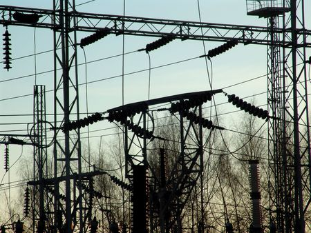 isolator insulator: A power substation Stock Photo