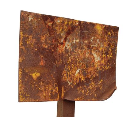 A rusted plaque, isolated photo