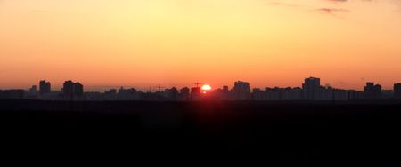 sihlouette: A Moscow dawn panorama southwest of the city