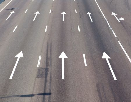 Arrow marks on a road photo