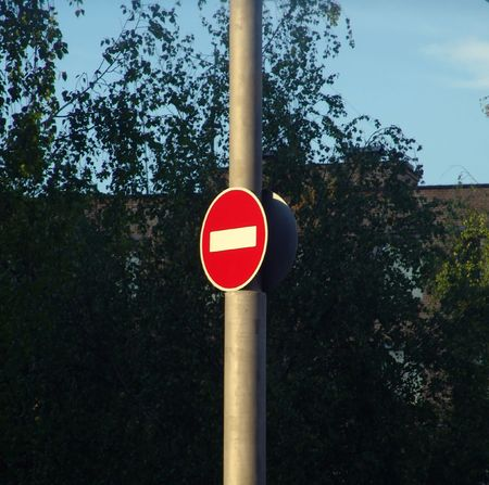 A red road sign photo