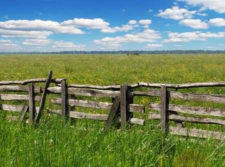 A pastoral view, a field with an old fence Stock Photo - 1448365
