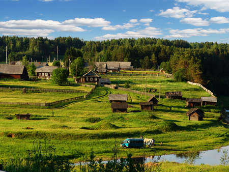 A view of a typical village in the north of the European part of Russia Stock Photo