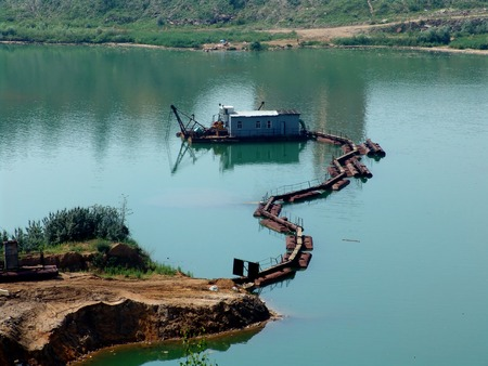 sand quarry: A facility, pumping sand from a sand quarry Stock Photo