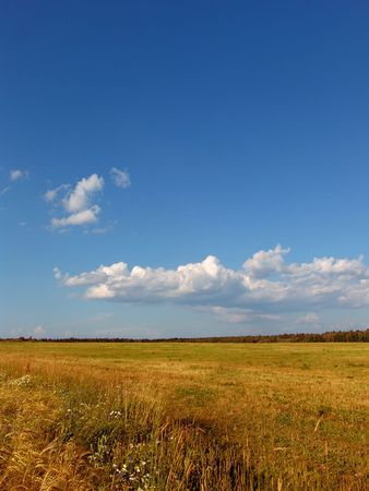 cropcircle: A view of a farmland landscape in late summer Stock Photo
