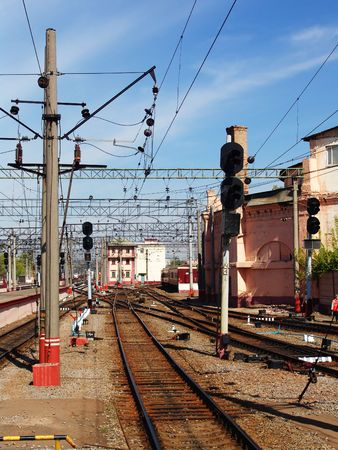 manage transportation: Railroad switches near a central rail station Stock Photo