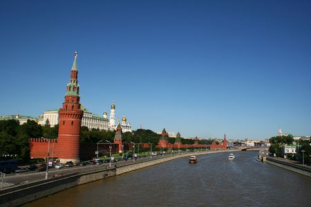 kreml: A view of the Moscow river and the Kremlin Stock Photo