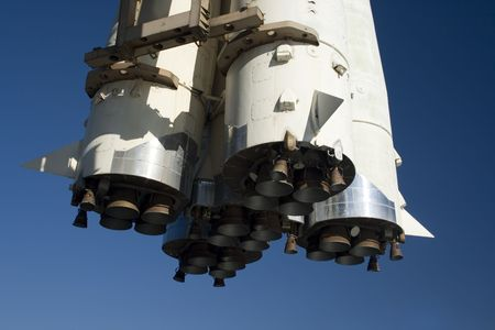 spaceport: A russian spaceship launching rocket nozzles closeup Stock Photo