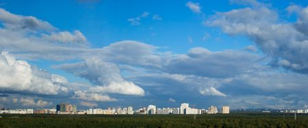 megapolis: A skyline view of a big megapolis Stock Photo