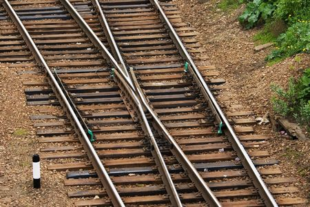 A railroad switch view from above Stock Photo - 3122704