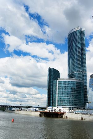 erect: The huge construction site of the Moscow City highrise complex in Russia Stock Photo