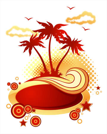 ray trace: Palm Island. Wave y bandera