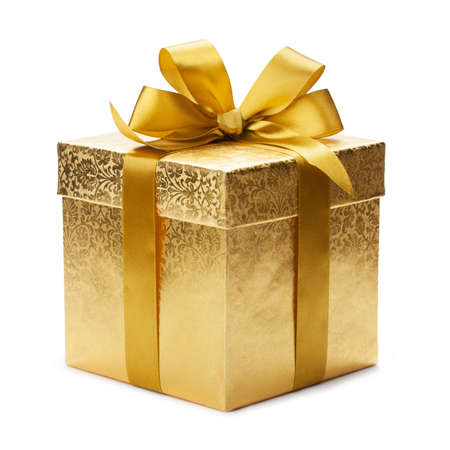 Gift box and gold ribbon isolated on white background photo