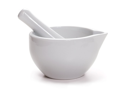 morter: White mortar and pestle isolated on white. Kitchenware