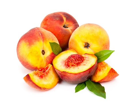 Tasty, juicy peaches isolated on white background