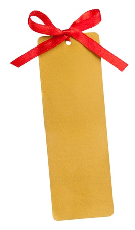 Gold tag and red bow isolated on white background Stock Photo