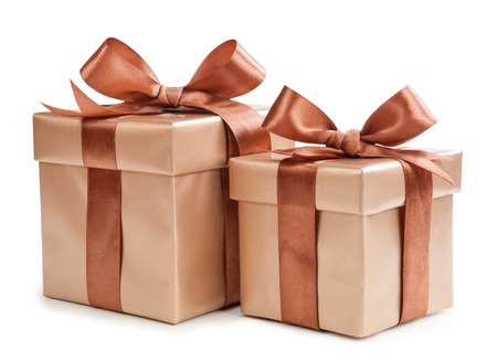 Gold box with gifts and brown bow