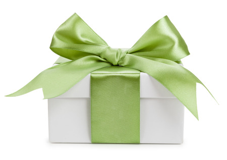 White gift box with green bow isolated
