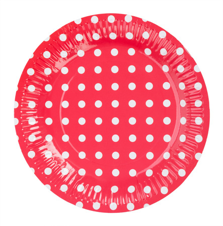 paper plates: Paper plate red with white dots isolate on white background Stock Photo