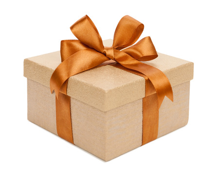 golden ribbon: Gift box with gifts and brown bow. Stock Photo