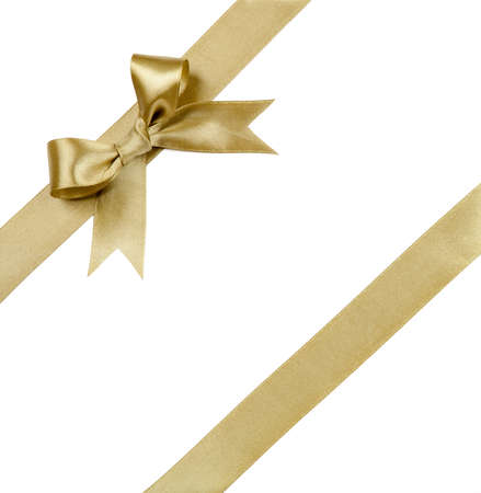 gold: Gift ribbon with bow isolated on white Stock Photo