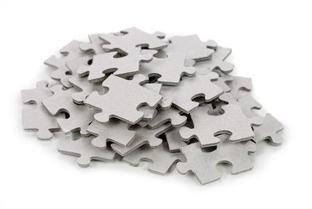 piezas de puzzle: Puzzle aislada sobre fondo blanco