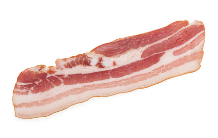 bacon fat: Raw bacon isolated on white background.