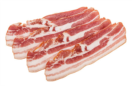 raw bacon: Raw bacon isolated on white background.