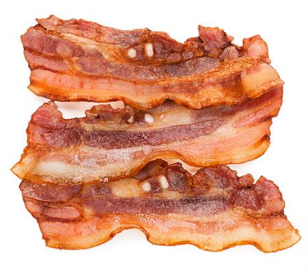 streaky: Grilled fresh bacon isolated on white background Stock Photo