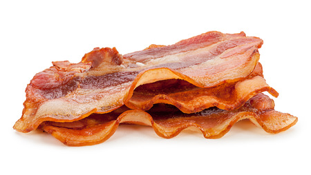 bacon fat: Grilled fresh bacon isolated on white background Stock Photo