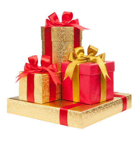 gold gift box: Gift boxes on white background